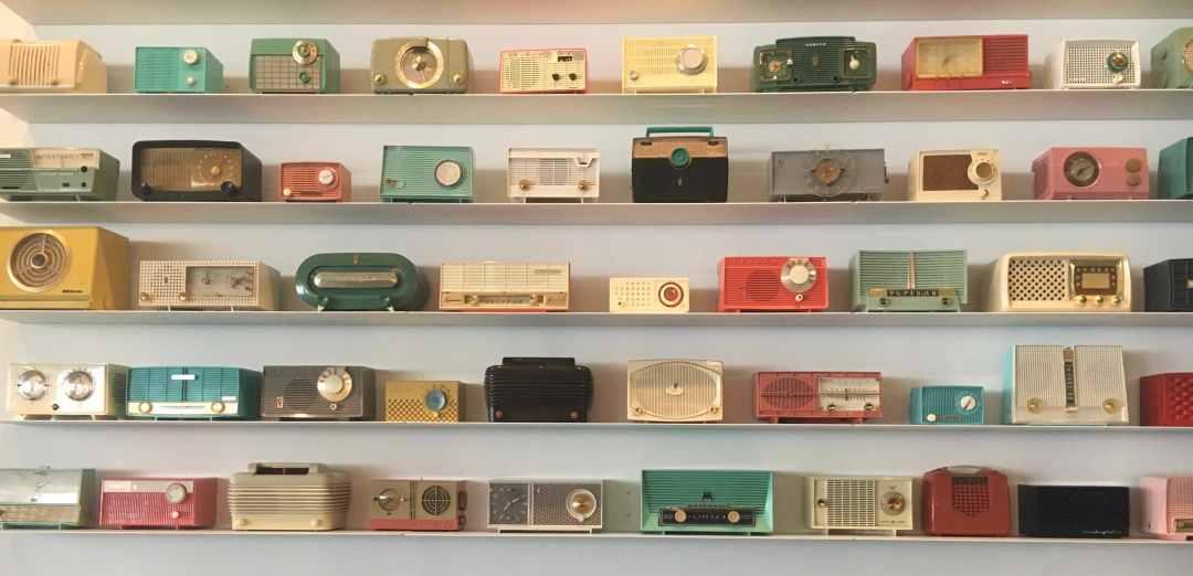 The radio wall at Radio Social, Rochester, NY